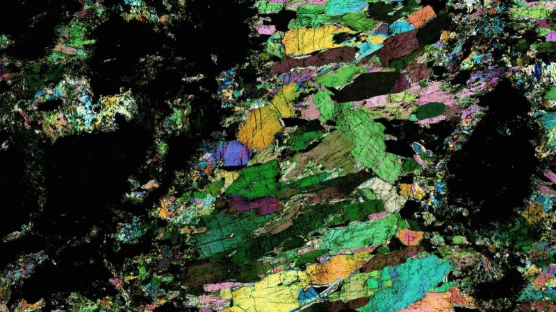 Precambrian Hornblendite Polarized Light